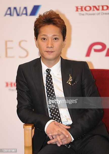 Nakai Masahiro of Japanese boy band SMAP attends a press conference ahead of Beijing concert at the Great Hall of the People on September 15 2011 in...