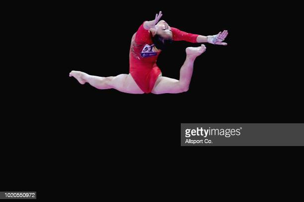 Zhang Jin of China in action during the Artistic Gymnastics of the Women's Individual AllAround Final at the Jiexpo Hall on day three of the 18th...