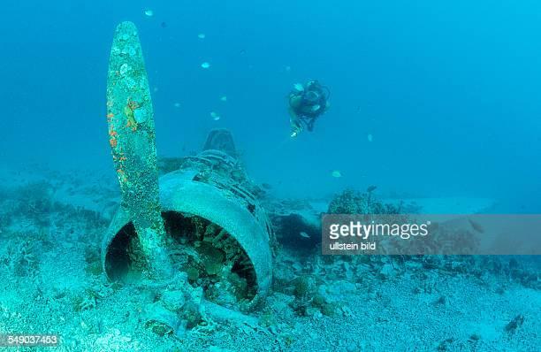 Nakajima B5N2 Kate Torpedo Bomber and Scuba diver, Papua New Guinea, Neu-Irland, Kavieng