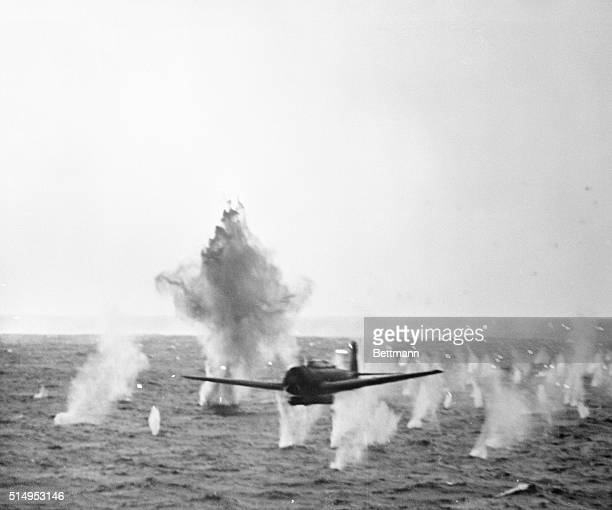 "Nakajima B6N Tenzan torpedo bomber, known to the Allies as ""Jill"", flies through anti-aircraft fire during a battle in the Truk Islands. 