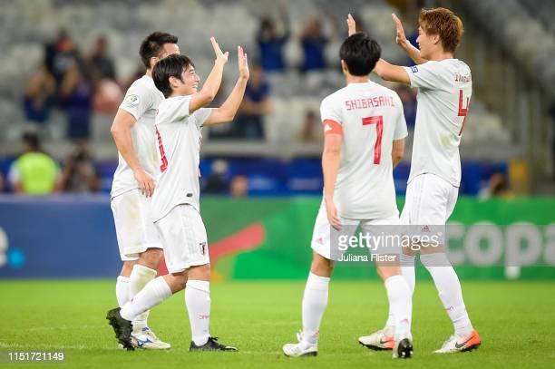 Nakajima of Japan celebrates a scored goal against Ecuador during a match the Copa America Brazil 2019 group C match between Ecuador and Japan at...