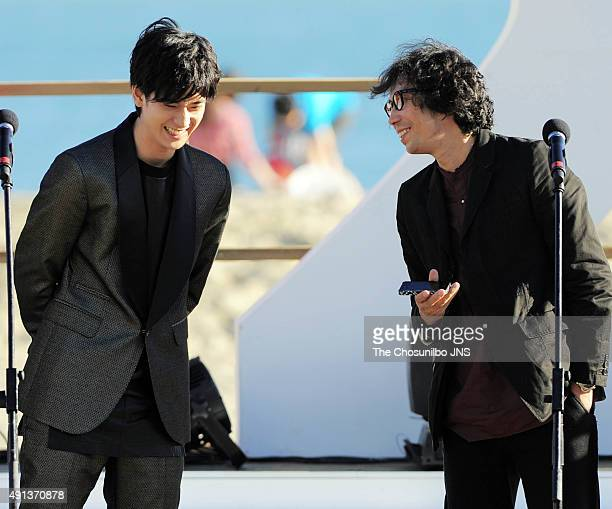 Nakajima Yuto and Yukisada Isao attend the greeting session for the movie 'Pink and Gray' at BIFF Village on October 2 2015 in Busan South Korea