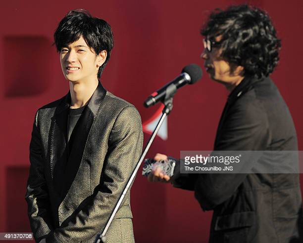 Nakajima Yuto attends the greeting session for the movie 'Pink and Gray' at BIFF Village on October 2 2015 in Busan South Korea