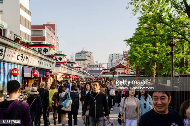 Nakamise-dori Street Leading Towards Senso-ji Temple, Asakusa, Tokyo, Lined with Tourists Shops, Food Stalls and Crafts.
