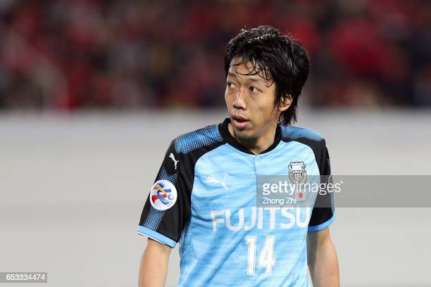 Nakamura Kengo of Kawasaki Frontale looks on during 2017 AFC Asian Champions League group match between Guangzhou Evergrande Taobao FC and Kawasaki...
