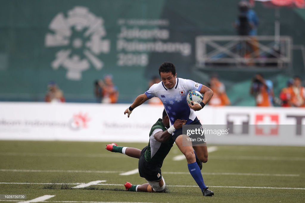 Nakamura Naoki of Japan in action during Rugby Sevens Men's Semi Final between Japan and Sri Lanka at GBK Rugby Field on day fourteen of the Asian Games on September 1, 2018 in Jakarta, Indonesia.