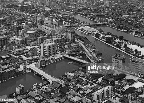 Nakanoshima Park a public park situated on the Nakanoshima sandbank between the Dojima River and the Tosabori River in Osaka Japan 1956