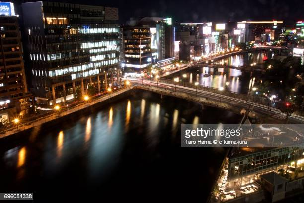 Nakasu area in Hakata district in Fukuoka city night cityscape