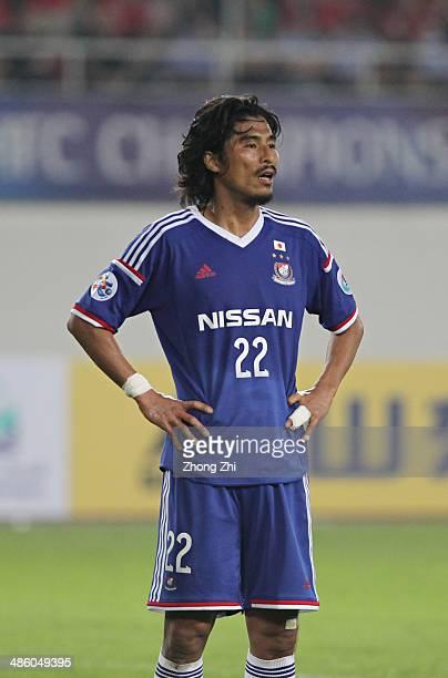 Nakazawa Yuji of Yokohama F Marinos reacts during the AFC Asian Champions League match between Guangzhou Evergrande and Yokohama F Marinos at Tianhe...