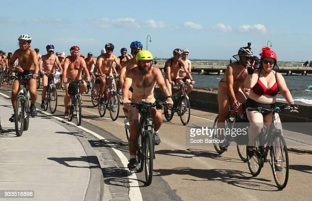 Naked bike riders cycle during the 2018 Naked Bike Ride on March 18 2018 in Melbourne Australia The World Naked Bike Ride is an annual international...
