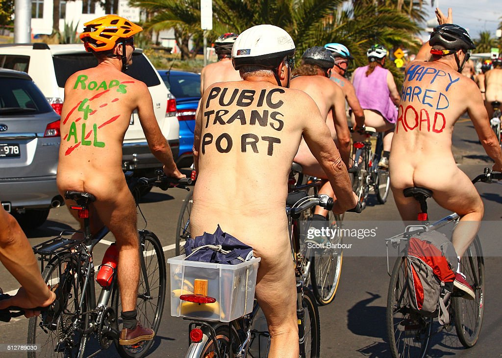 Riders Bare All For World Naked Bike Ride : News Photo