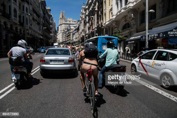 Naked biker riding through the streets demanding more respect for cyclists