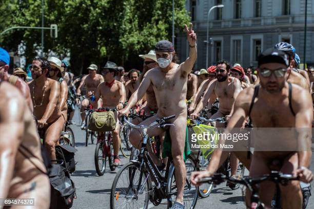 Naked bikers riding through the streets demanding more respect for cyclists