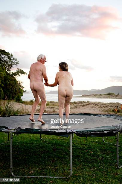 Naked couple on Trampoline