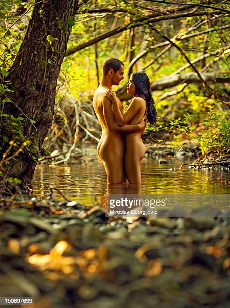 naked couple - naturism stock photos and pictures