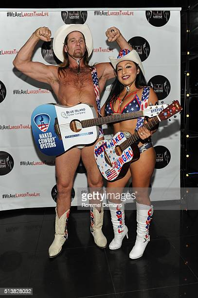 Naked Cowboy Keith Collins and Naked Cowgirl attend Larger Than Life 'A Brand New Day' Single Release Party at Sono on March 4 2016 in New York City