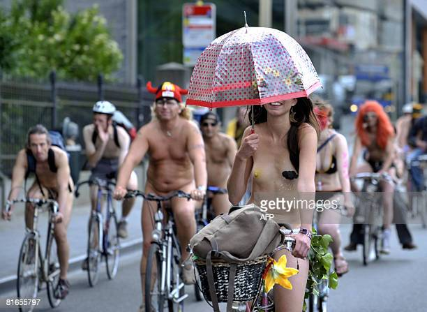 Naked cyclists demonstrate against pollution generated by cars during the 'World naked Bike Ride' in the center of Brussels on June 21 2008 AFP...