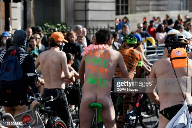 Naked cyclists ride through London as they take part during the World Naked Bike Ride Campaigners ride in the city to demonstrate the vulnerability...