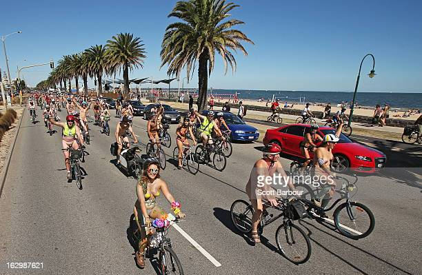 Naked cyclists take part in the World Naked Bike Ride on March 3 2013 in Melbourne Australia The bike ride is intended to 'peacefully expose the...