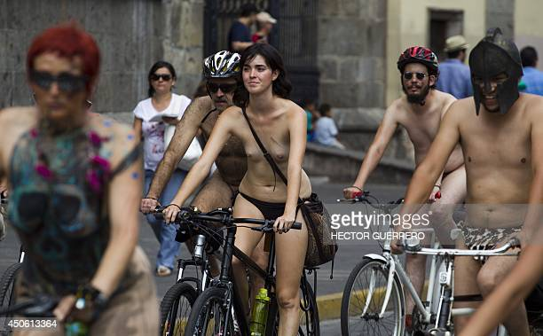 Naked cyclists take part in the World Naked Bike Ride to protest against cars gas emissions from cars and agressive drivers in Guadalajara Jalisco...
