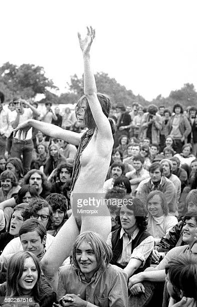 Naked girl dancing at The Isle of Wight Festival 30th August 1969