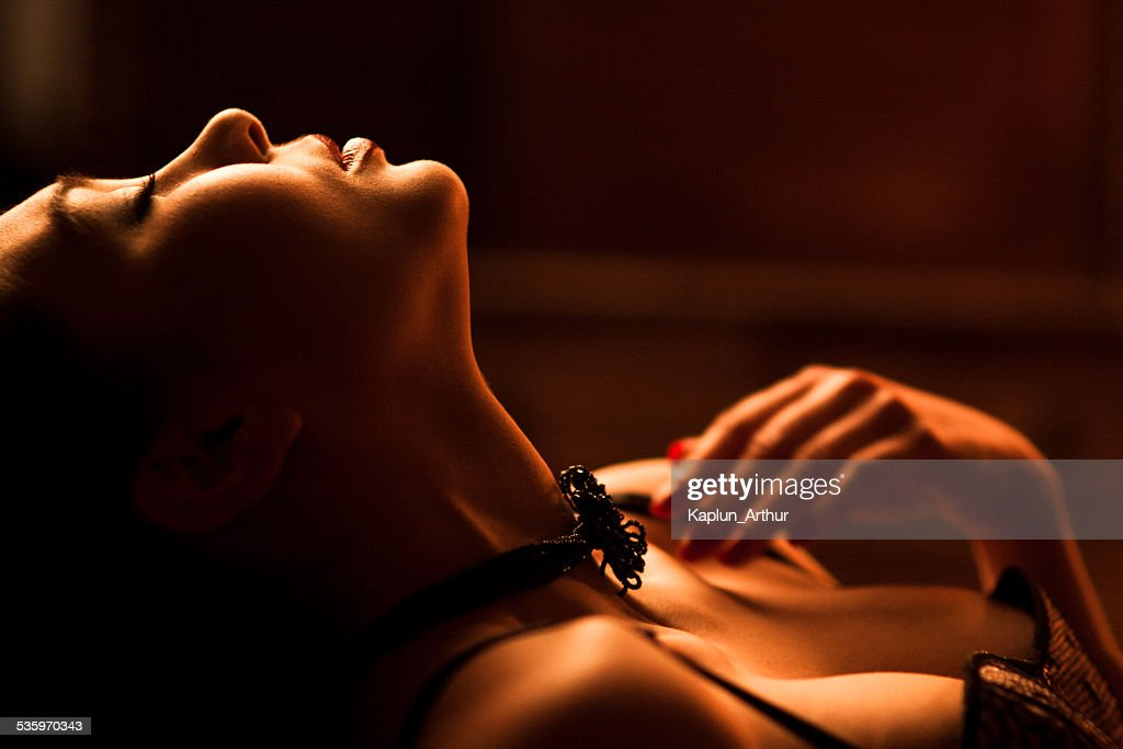 Naked girl on the bed : Stock Photo