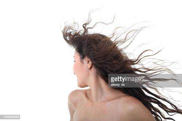 Naked girl with flying hairs
