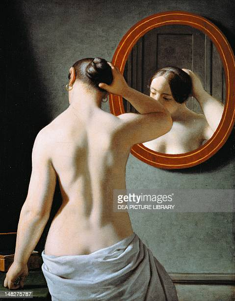 Naked in the mirror by Johan Frederik Eckersberg Copenhagen Statens Museum For Kunst