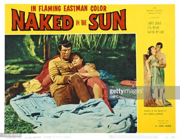 Naked In The Sun US lobbycard from left James Craig Lita Milan 1957