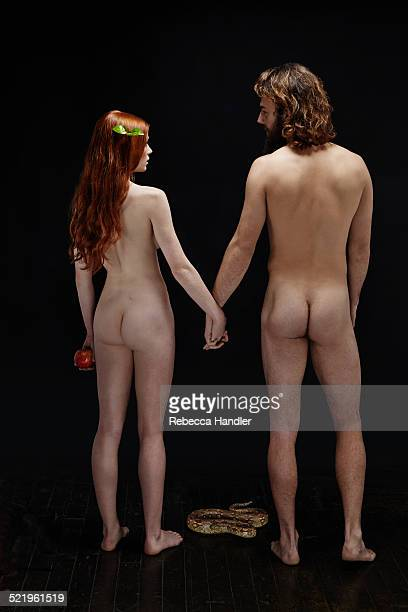 Naked man and woman facing each other