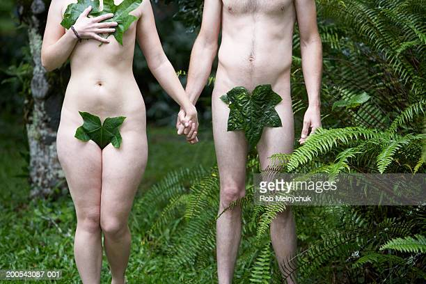 naked man and woman with leaves covering genitals, mid section - adamo e eva foto e immagini stock