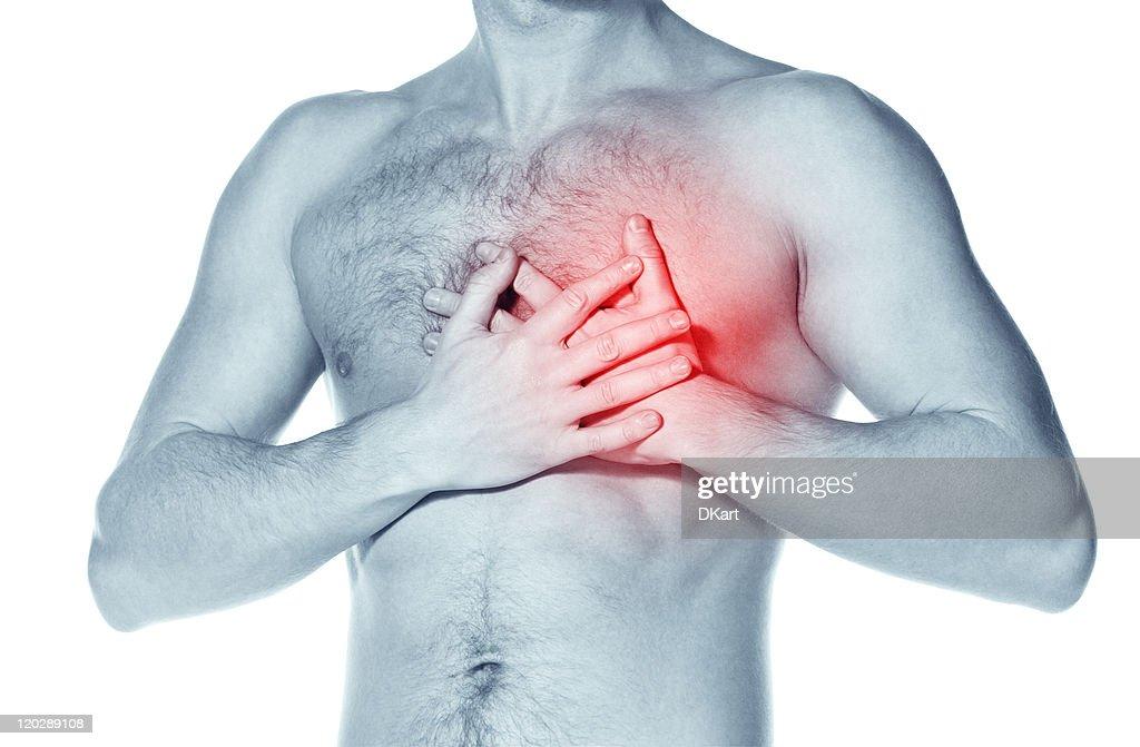 naked man  having a heart attack : Stock Photo