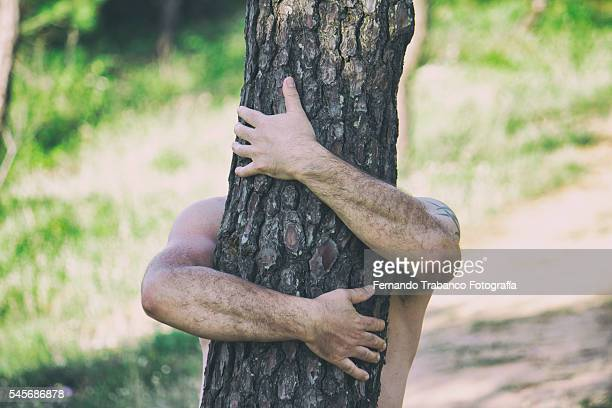 naked man hugging tree in forest