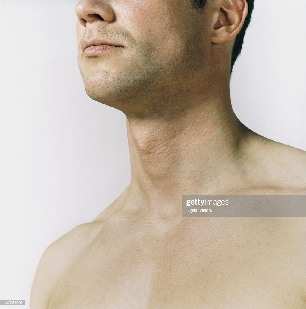 Naked Man's Chest and Neck : Stock Photo