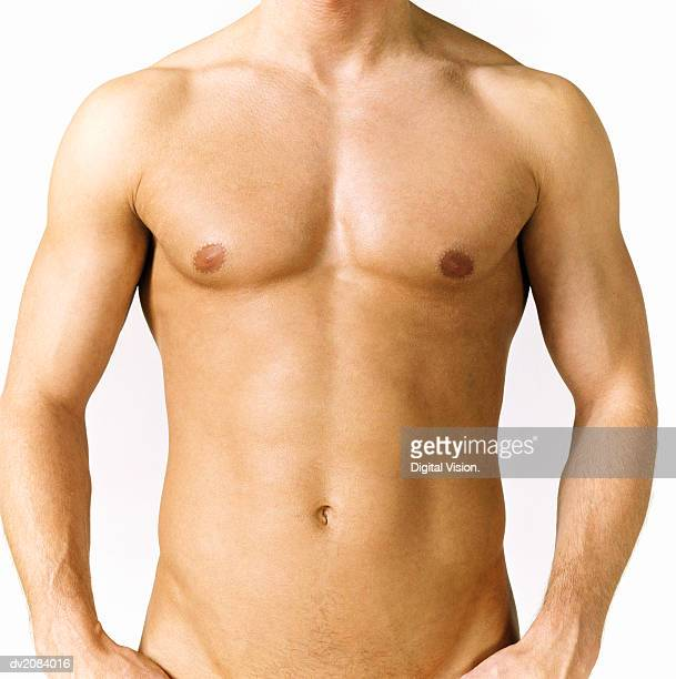 naked man's stomach - hombre desnudo fondo blanco fotografías e imágenes de stock