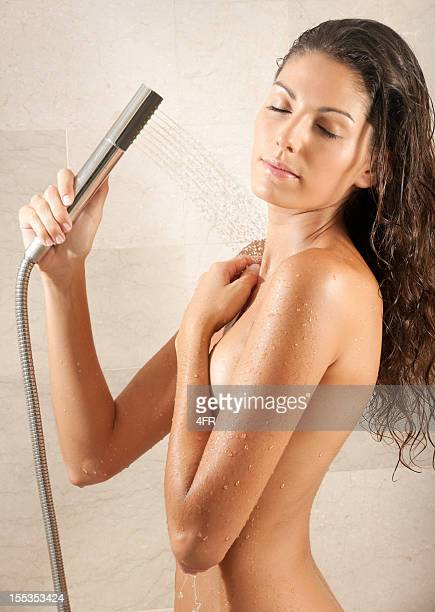 Naked natural beautiful Woman relaxing under a hot shower (XXXL)