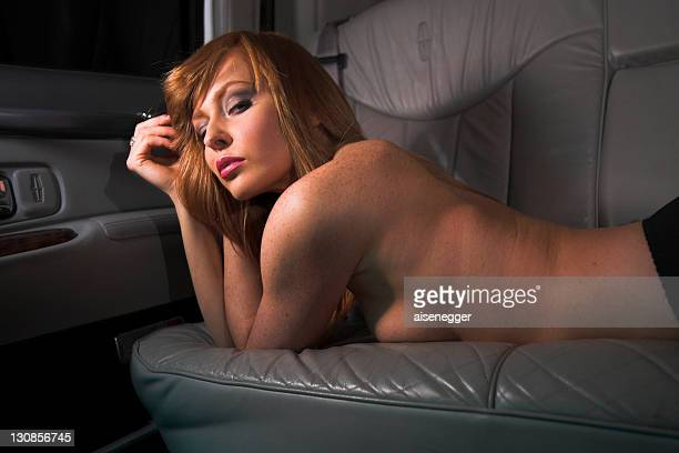 naked on the back seat, night drive in a stretched limousine - fanny pic fotografías e imágenes de stock