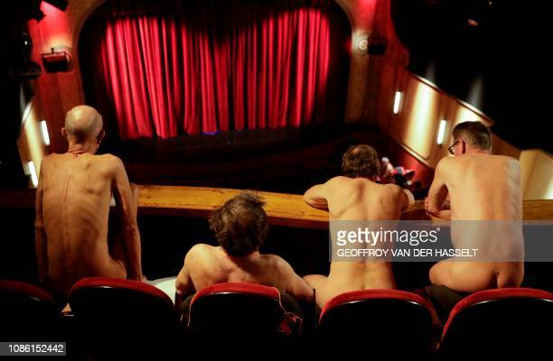 TOPSHOT Naked people attend the nudist play nu et approuve at the Palais des Glaces theatre in Paris on January 20 2019