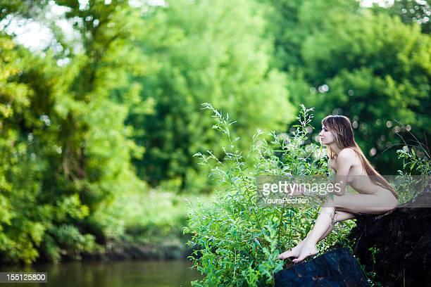 Naked woman at nature