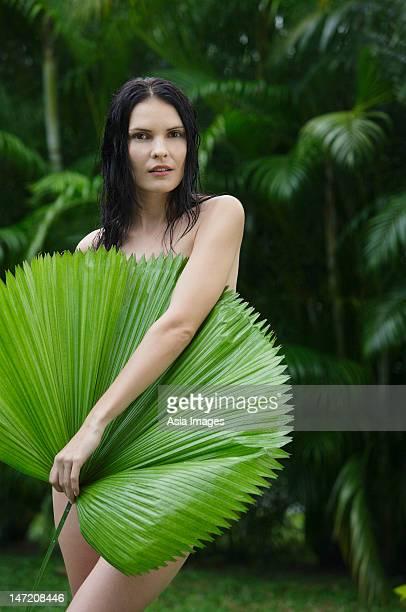 Beautiful Naked Young Woman Jungle Palm Stock Photo