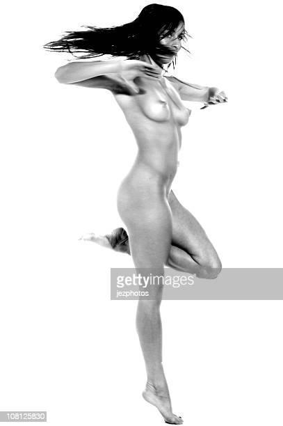 Naked Woman Dancing, Black and white