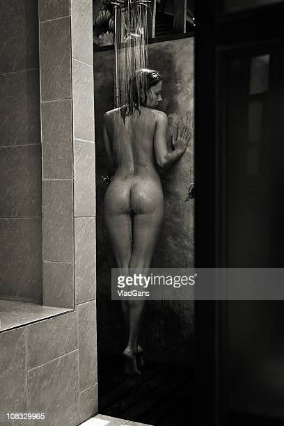 naked woman in outdoor shower