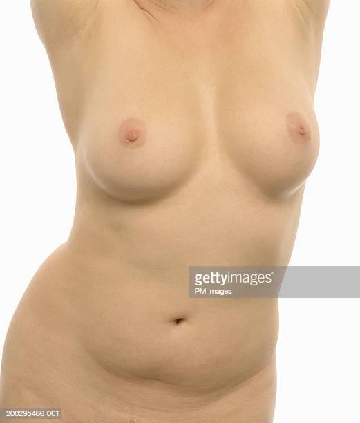 naked woman, mid section - nackte frau brüste stock-fotos und bilder