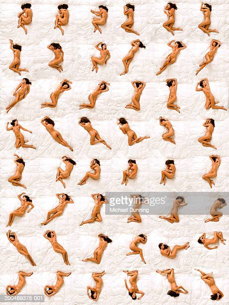 Naked woman sleeping in different positions, overhead view