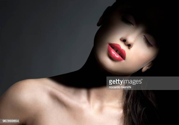 naked woman with beautiful full lips