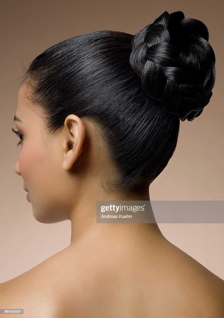 Naked woman with hairdo back view, profile. : Stock Photo