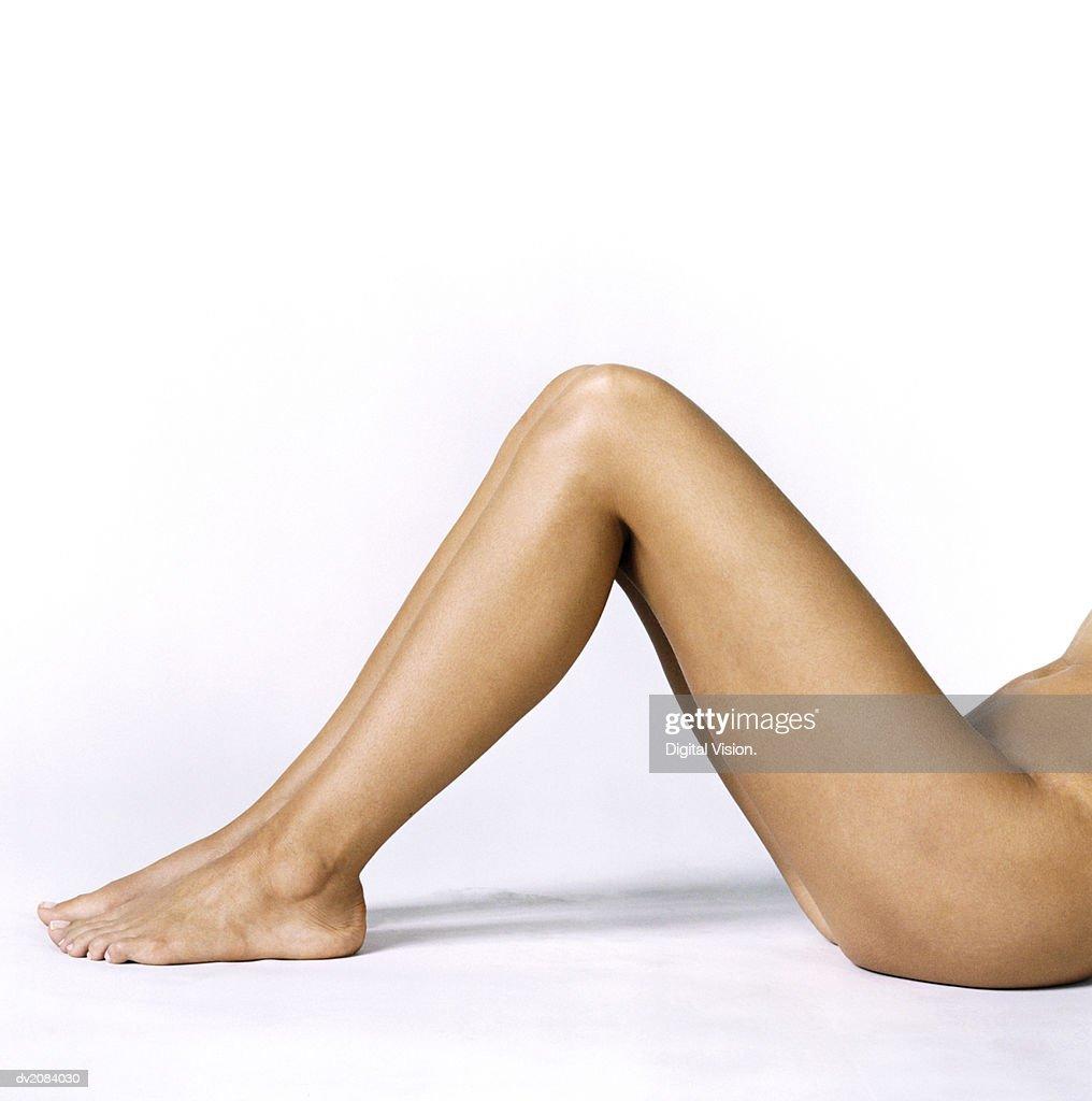 Naked Woman's Leg : Stock Photo