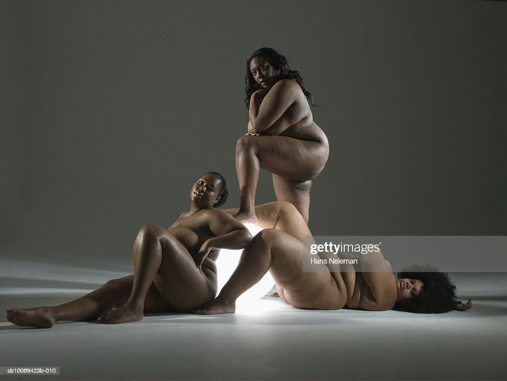 Naked women with glowing sphere, portrait : Stock Photo