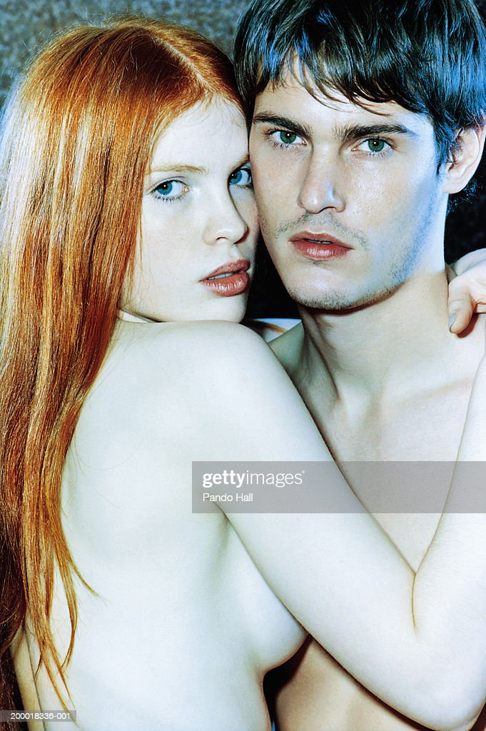 Naked young couple embracing, portrait : Stock Photo