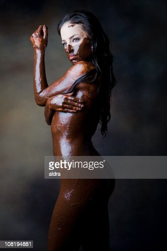 Naked woman covered in food women